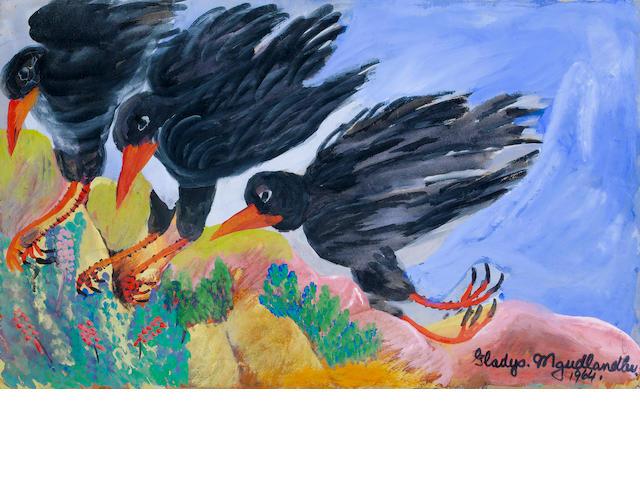 Gladys Mgudlandlu (South African, 1925-1979) Three birds unframed