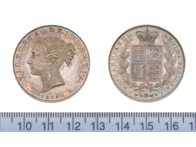 Victoria, Proof Halfcrown 1839, type A1, young head left, with one ornate and one plain fillet binging hair,