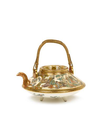 A Satsuma teapot By Kinkozan, Meiji Period
