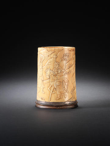 An ivory brushpot, bitong 17th century