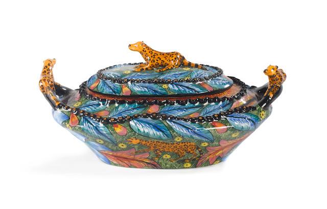 Ardmore Ceramic Leopard tureen 15 x 31 x 20.5cm (5 7/8 x 12 1/4 x 8in).