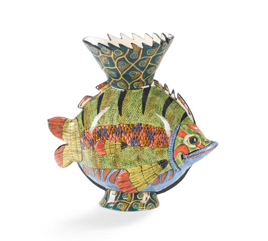 Ardmore Ceramic Fish vase 27 x 26.5 x 12cm (10 5/8 x 10 3/8 x 4 3/4in).