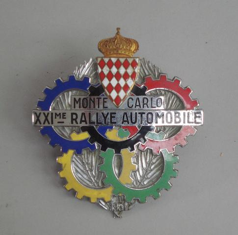 A 1951 Monte-Carlo Rally competitor's badge,