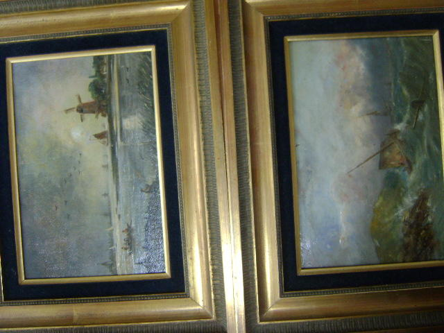 English, 19th Century School, Vessels, battling a rough sea and moonlit river, landscape with windmill, oil on panel, pair (2)