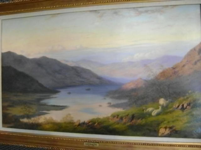 After S R Percy, Highland Loch Landscape, with sheep, oil on canvas,