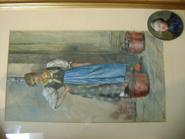 S.V. Canalla, Girl in traditional Italian dress, with a pair of copper pails, watercolour, 34 x 19cm, together with a mid 19th Century portrait miniature of a gent with blue waistcoat, 8cm. (2)