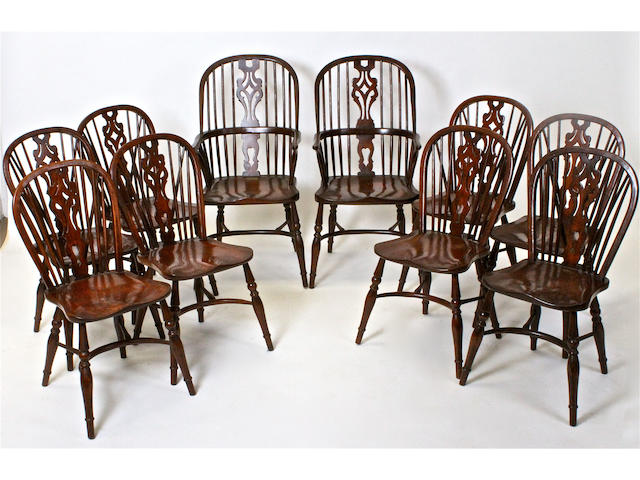 A good reproduction set of ten ash and elm Windsor chairs