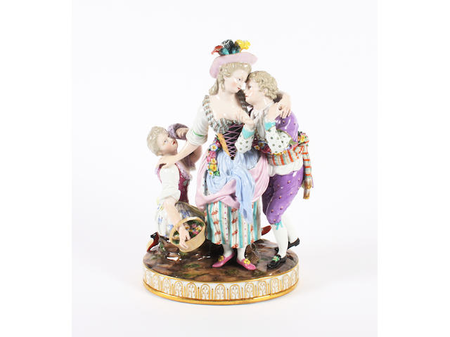 A Meissen figure group 'The Decisive Choice' 19th Century.
