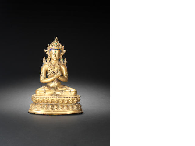 A gilt bronze figure of Vajrasattva Tibet, 15th century
