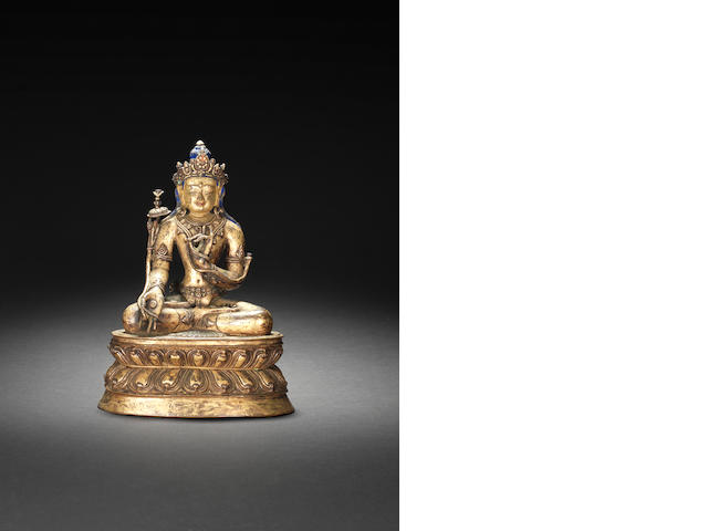 A gilt bronze figure of Vajrapani  Tibet, 14th/15th century
