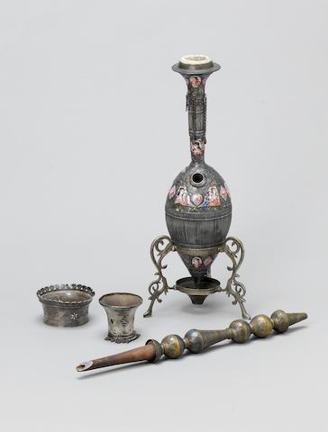 A Qajar enamelled silver Ghalian Persia, 19th Century(6)