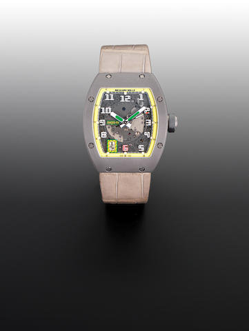 Richard Mille. A titanium automatic limited edition wristwatch with sapphire crystal inspection plate to case backFelipe Massa, Reference RM005-FM, Edition Number 284/300, Circa 2009