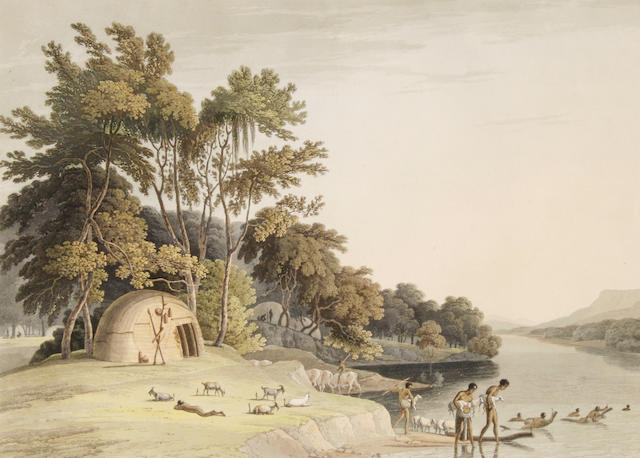Samuel Daniell (British, 1775-1811) 'A Korah Hottentot Village on the left bank of the Orange River', 1804 32 x 45cm (12 5/8 x 17 3/4in) (image).