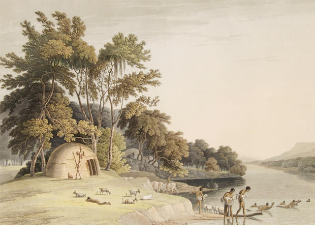 After Samuel Daniell 'A Korah Hottentot Village on the left bank of the Orange River' (I) 32 x 45cm (12 5/8 x 17 3/4in).