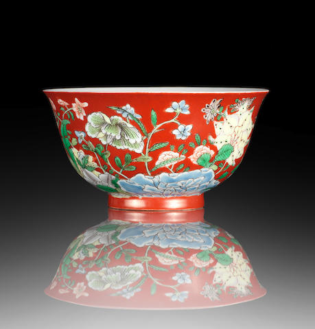 An extremely fine and rare coral-ground wucai bowl Kangxi yuzhi four-character mark and of the period
