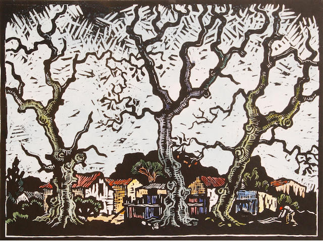 Gregoire Boonzaier (South African, 1909-2005) District Six 30 x 23cm (11 3/4 x 9in)(image). Together with two smaller linocuts with hand colouring by the same hand. (3)