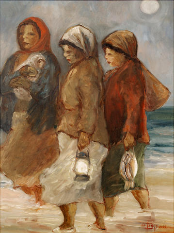 Amos Langdown (South African, 1930-2006) Three women on a beach