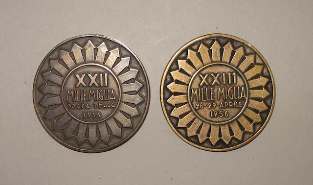 Mille Miglia finisher's medals for 1955 and 1956,