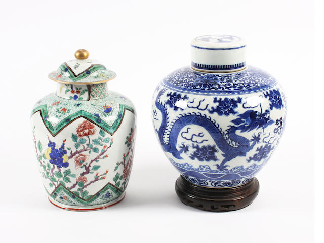 A Chinese blue and white vase and cover and a Samson famille verte vase and cover Late 19th Century.