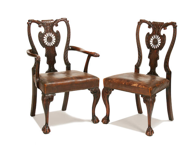 Set of 8 George II style mahogany dining chiars, to include a pair of elbow chairs