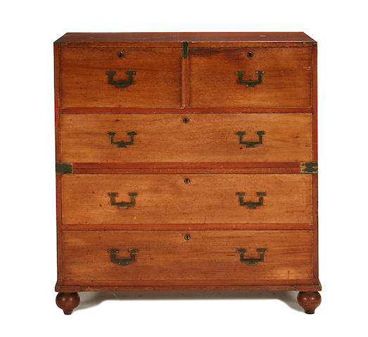 A Victorian teak and brass mounted  campaign chest