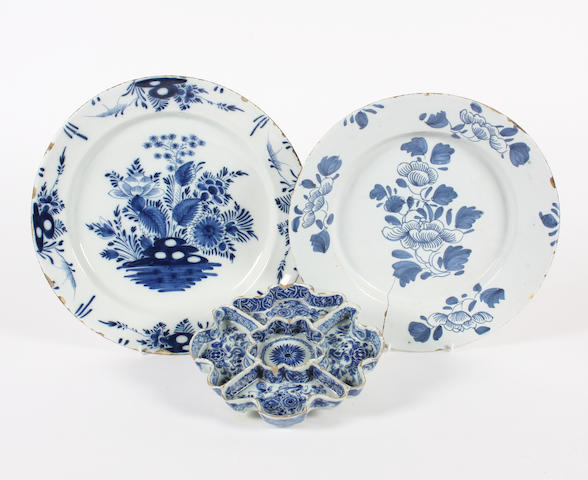 Two delft large dishes and an hors d'oeuvre dish 18th Century.