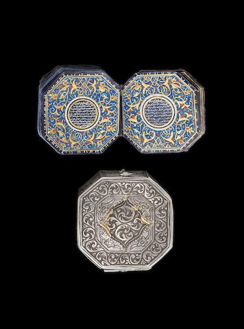 An illuminated octagonal miniature Qur'an, copied by Abdullah bin Abdul-Rahman bin Abdullah al-Salhani al-Dimashqi Ottoman, probably Syria, dated 6 Rabi al-Awwal 1221/25th May 1806(2)
