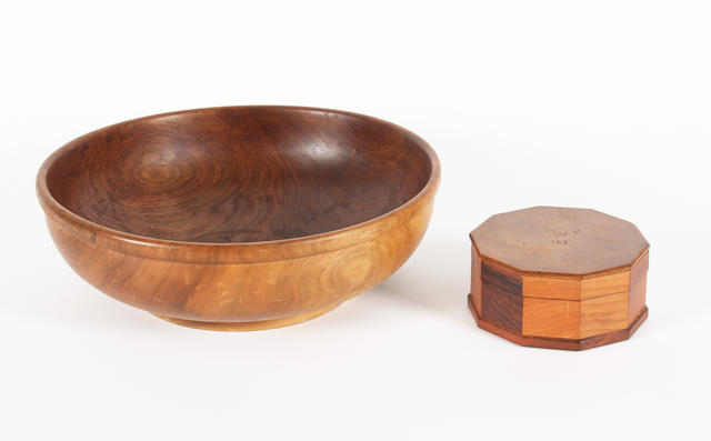 A Hugh Birkett oak, mahogany and multi-wood faceted box and cover, and a turned walnut circular bowl