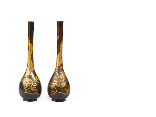 A pair of lacquered bronze bottle vases Late Meiji/Taisho Period