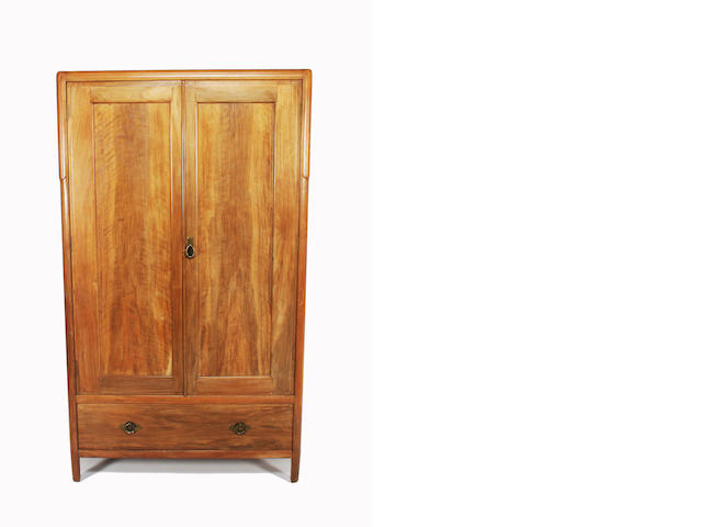 A walnut wardrobe and dressing chest, by Heales and Son. (2)