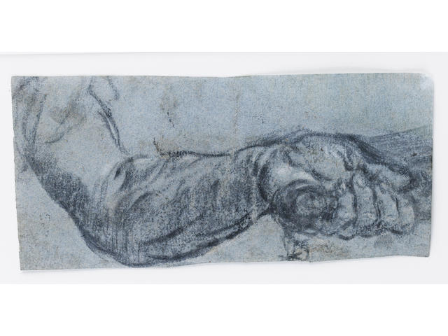 attr Tintoretto - Hand study chalch on paper