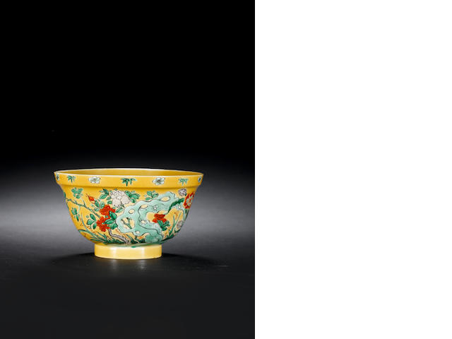 A yellow-ground famille verte bowl, Kangxi