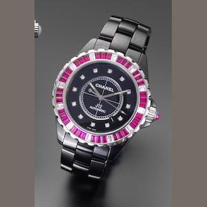 Chanel. A fine automatic ceramic, white gold, synthetic ruby and diamond set automatic calendar ceramic bracelet watch together with presentation box and papersJ12, Ref: H2018, No.11/12, Sold at the Chanel Boutique, London, 22nd February 2008