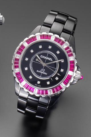 Chanel. A fine automatic ceramic, white gold, ruby and diamond set automatic calendar ceramic bracelet watch together with presentation box and papersJ12, Ref: H2018, No.11/12, Sold at the Chanel Boutique, London, 22nd February 2008
