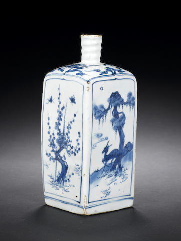 A blue and white square bottle Wanli