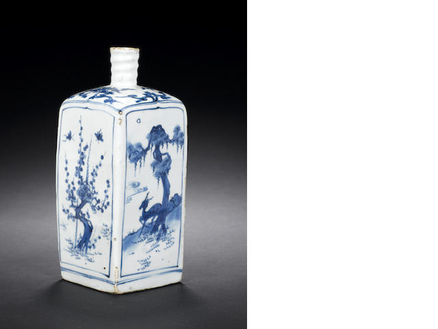 A blue and white square-form bottle vase Wanli