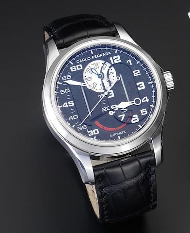 Carlo Ferrara. A stainless steel automatic wristwatch with retrograde power reserve and twenty-four hour indicationRegolatore Due, Number 473, Recent