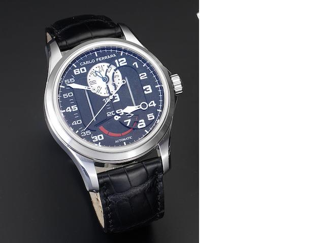 Carlo Ferrara. A stainless steel automatic wristwatch with retrograde power reserve and twenty-four hour indication Regolatore Due, Number 473, Recent