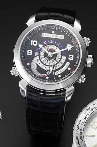 Pierre DeRoche. A stainless steel dual time zone with date and retrograde power reserve indication Grandcliff, GMT, Case Number B-00844, Recent