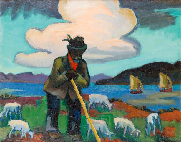 Maggie (Maria Magdalena) Laubser (South African, 1886-1973) 'Skaapwagter (Shepherd)'