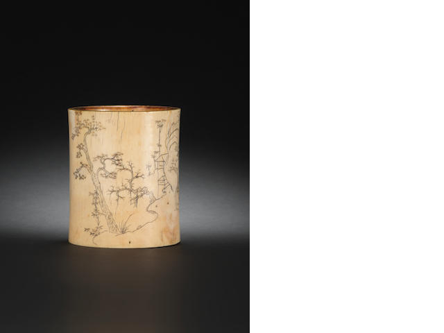 An ivory brushpot, bitong 18th century