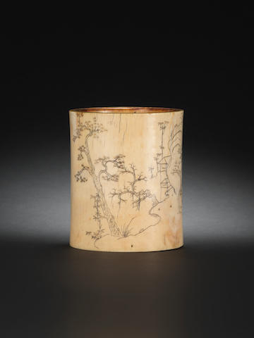 An ivory brushpot, bitong 18th century