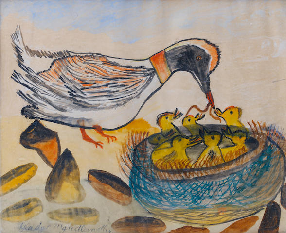 Gladys Mgudlandlu (South African, 1925-1979) Feeding time