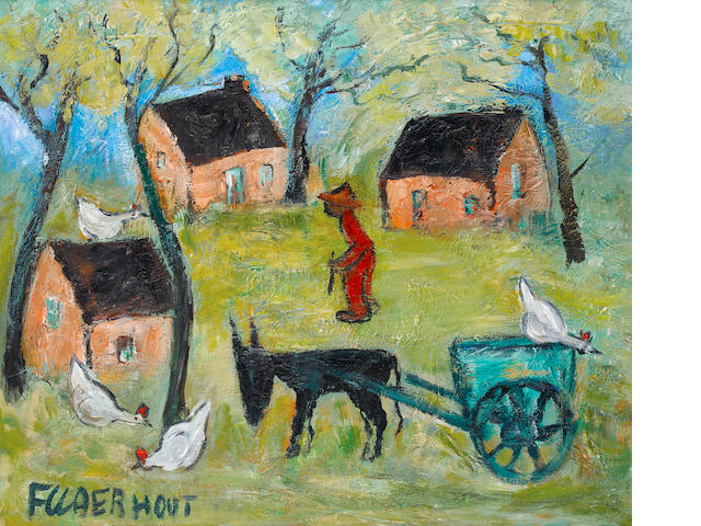 Frans Martin Claerhout (South African, 1919-2006) Farmyard with donkey cart and chickens