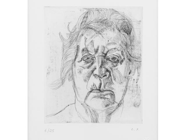 Lucian Freud (British, born 1922) The Painter's Mother (final version) Etching, 1982, on wove, initialled and numbered 6/25 in pencil, 178 x 152mm (7 x 6in)(PL), printed by Terry Wilson at Palm Tree Studios, with their blindstamp, together with one of 25 copies of the deluxe edition of Lawrence Gowring's book 'Lucian Freud', published 1982 by Thames and Hudson, London, within a white card slipcase 2, 1 volume