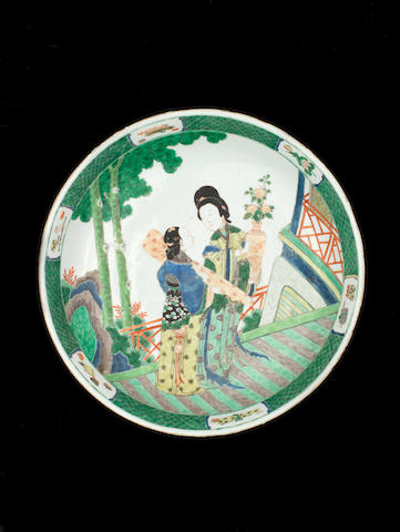A large famille verte charger Kangxi