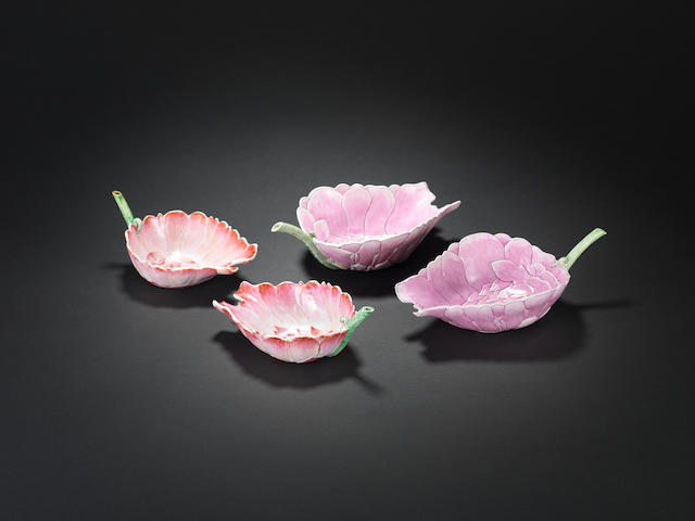 Two pairs of lotus-leaf libations cups  Guangxu marks, dated by inscription to 1908 and of the period