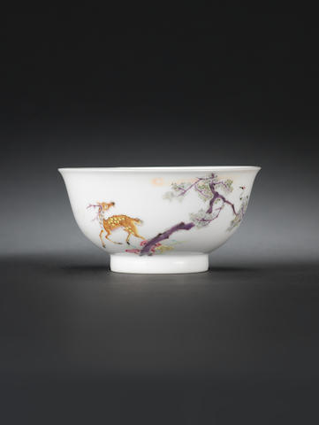 A rare famille rose 'deer' bowl Six character Yongzheng mark and of the period