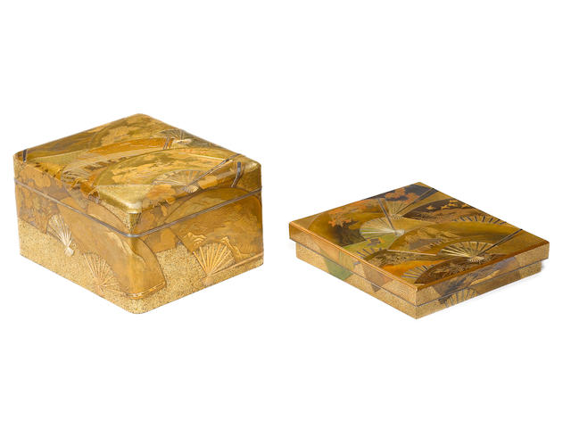A fine matching set of gold lacquer and silver-inlaid tebako (cosmetic box and cover), bundai (writing desk) and suzuribako (writing box and cover) Meiji Period