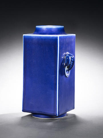 A blue-glazed square cylindrical vase, cong Guangxu six-character mark and of the period